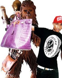 Pharrell Williams + Chewbacca bags